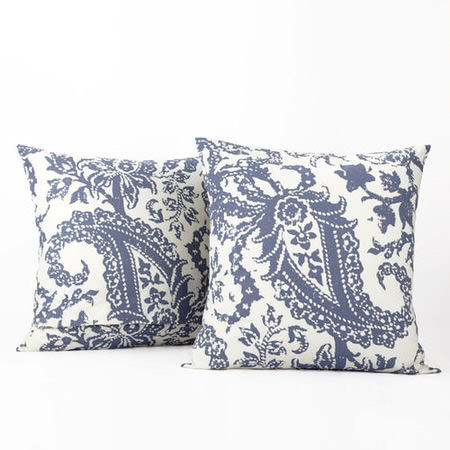 Edina Blue Printed Cotton Cover- PAIR