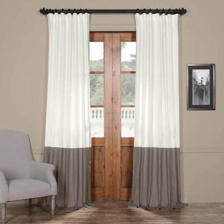 Fresh Popcorn and Millstone Grey Horizontal Colorblock Panama Curtain