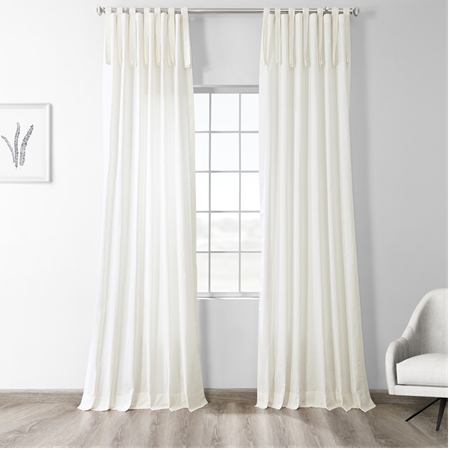 Fresh Popcorn Solid Cotton Tie-Top Curtain