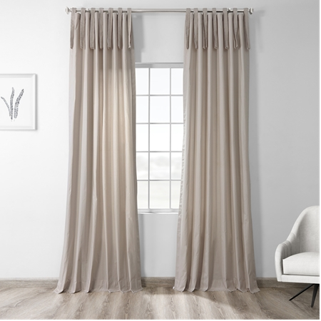 Hazelwood Beige Solid Cotton Tie-Top Curtain