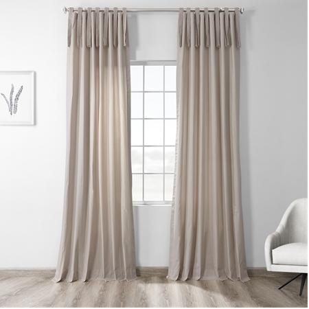 Hazelwood Beige Solid Cotton Tie-Top Curtain