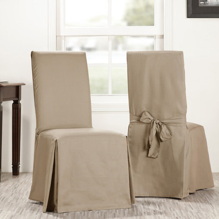 Sandstone Solid Cotton Curtain Chair Covers (Sold As Pair)