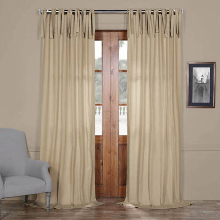 Shaker Beige Solid Cotton Tie-Top Curtain