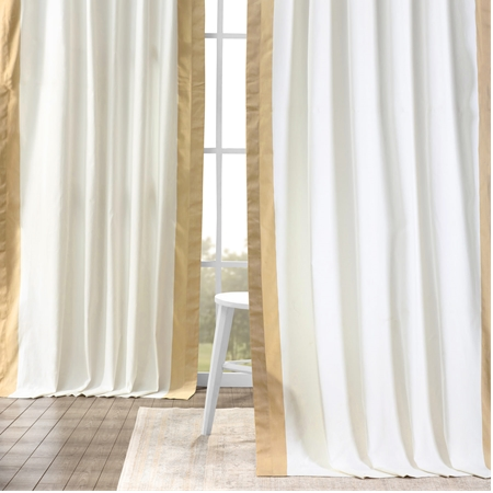 Fresh Popcorn and Shaker Beige Vertical Colorblock Panama Curtain