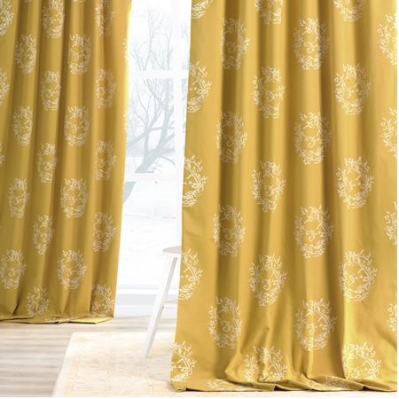 Isles Mustard Printed Cotton Curtain