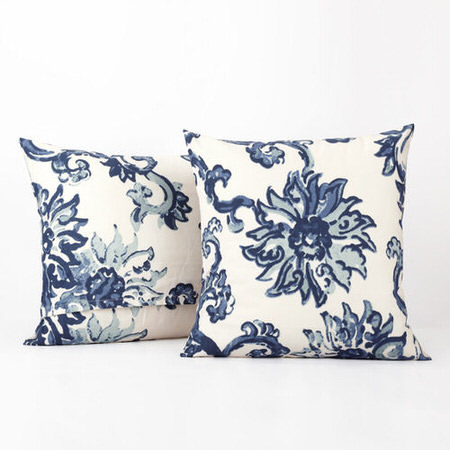 Indonesian Blue Printed Cotton Cover- PAIR