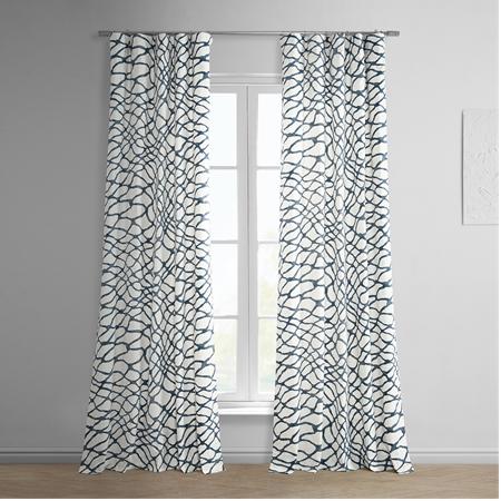 Ellis Blue Printed Cotton Twill Curtain