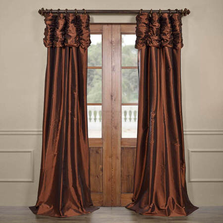 Rum Raisin Ruched Faux Solid Taffeta Curtain