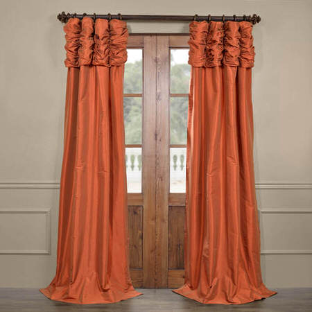 Harvest Orange Ruched Faux Solid Taffeta Curtain