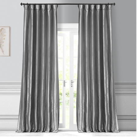 light pink faux silk curtains lined silver platinum taffeta curtain blackout