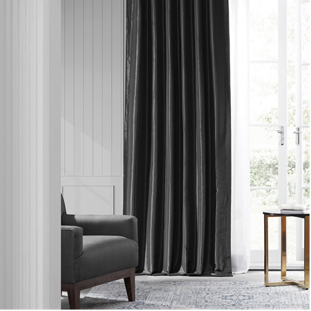 Jet Black Faux Silk Taffeta Curtain