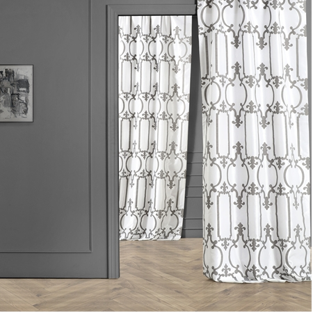 Royal Gate Buff & Silver Flocked Faux Silk Curtain