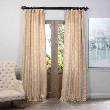 Marakesh Gold Flocked Faux Silk Taffeta Curtain, Faux Silk Taffeta Curtain