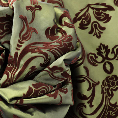 Firenze Fern Flocked Faux Silk Fabric