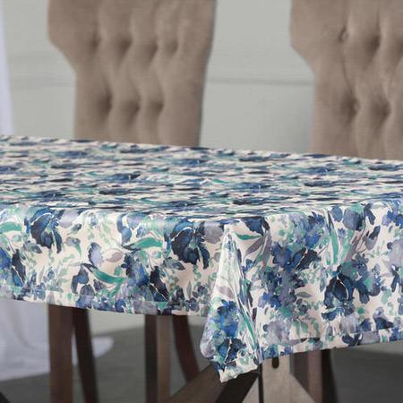 Watercolor Turquoise Designer Faux Silk Taffeta Table Cloth