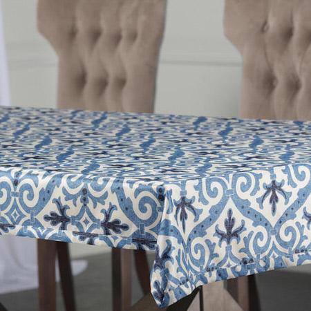 Iron Gate Blue Designer Faux Silk Taffeta Table Cloth
