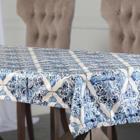 Tiera Blue Designer Faux Silk Taffeta Table Cloth