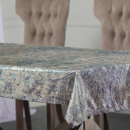 Wilton Blue Designer Faux Silk Taffeta Table Cloth