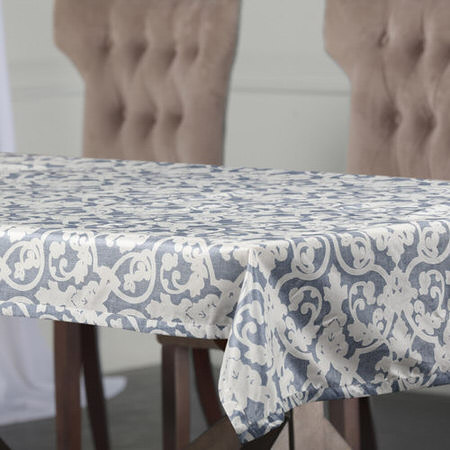 Rococo Blue Designer Faux Silk Taffeta Table Cloth