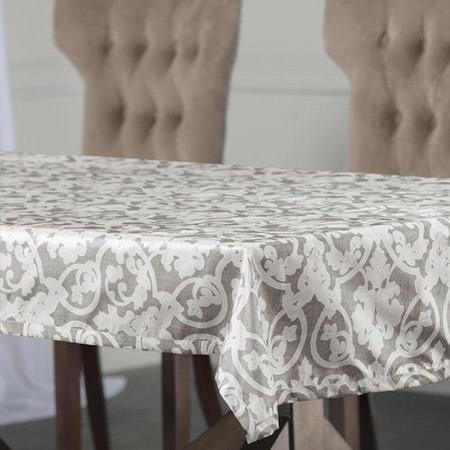 Rococo Grey Designer Faux Silk Taffeta Table Cloth