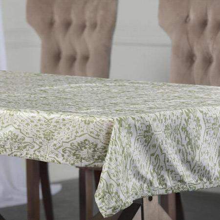 Tabriz Green Designer Faux Silk Taffeta Table Cloth
