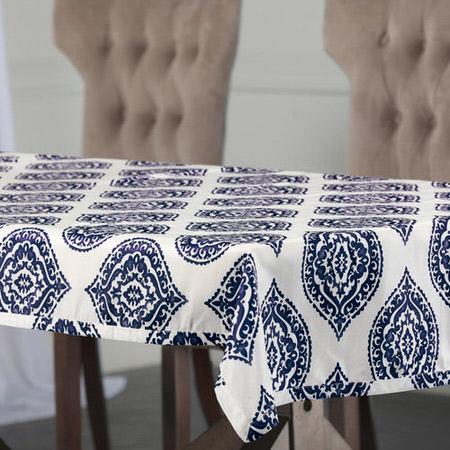 Donegal Blue Designer Faux Silk Taffeta Table Cloth