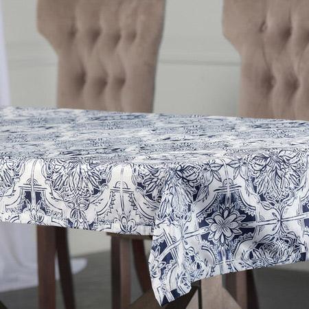 Delft Blue Designer Faux Silk Taffeta Table Cloth
