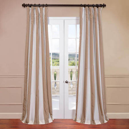 Creme Nougat Blackout Faux Silk Taffeta Stripe Curtain