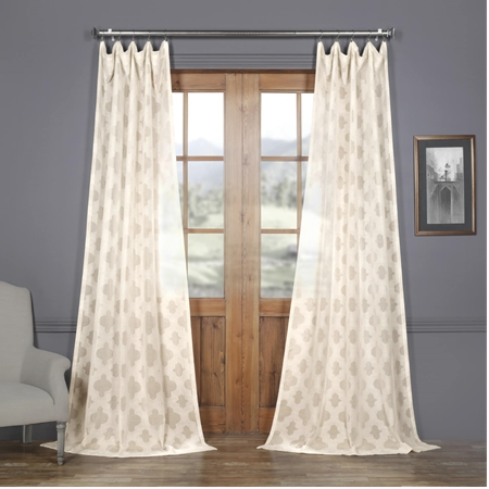 Calais Tile Patterned Faux Linen Sheer Curtain