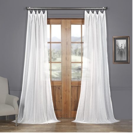 Bordeaux Striped Faux Linen Sheer Curtain