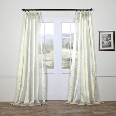 Gloss White Organza Vertical Stripe Sheer Curtain