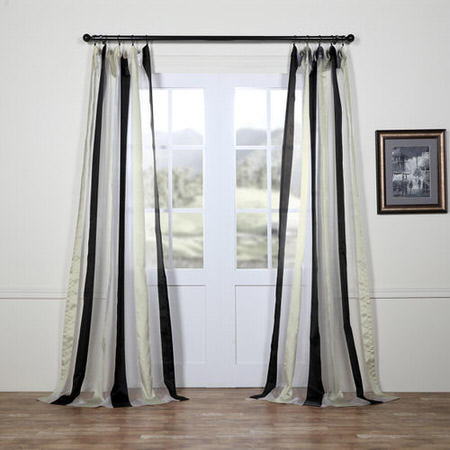 Buffed Black & White Organza Vertical Stripe Sheer Curtain