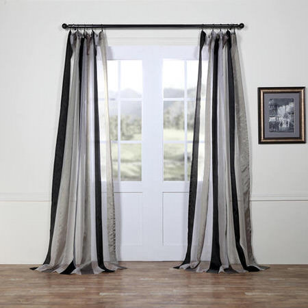 Polished Silver & Black Organza Vertical Stripe Sheer Curtain