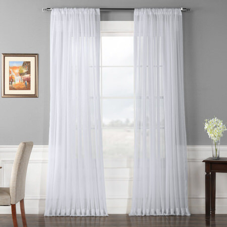 Doublewide Solid White Voile Poly Sheer Curtain