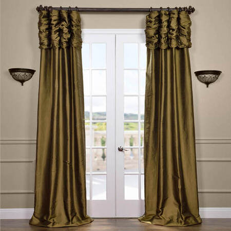 Ruched Sage Green Thai Silk Curtain