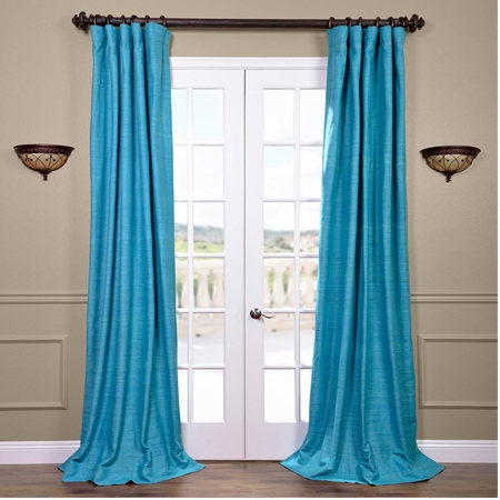 Cozumel Blue Raw Silk Curtain