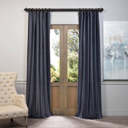Blue Grey Vintage Cotton Velvet Curtain