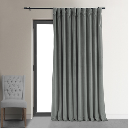 Signature Silver Grey Double Wide Velvet Blackout Pole Pocket Curtains