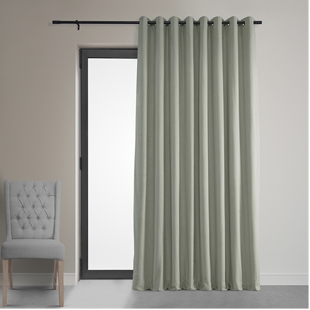 Signature Ivory Extra Wide Grommet Blackout Velvet Curtain