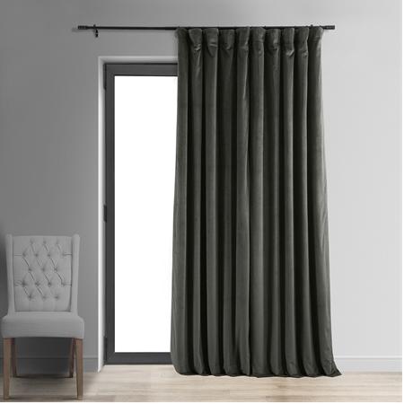 Signature Gunmetal Grey Extra Wide Blackout Velvet Curtain