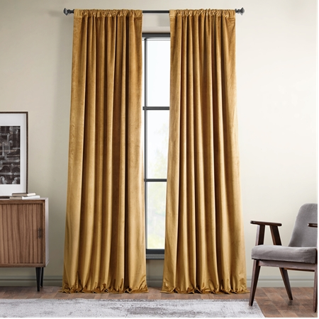 Spiced Rum Plush Velvet Curtain