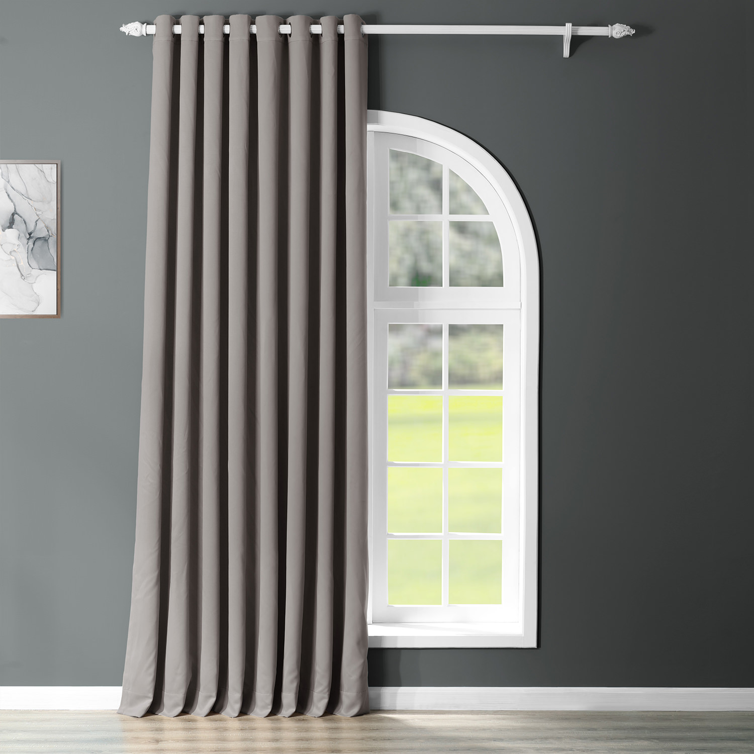 Neutral Grey Grommet Extra Wide Blackout Curtain