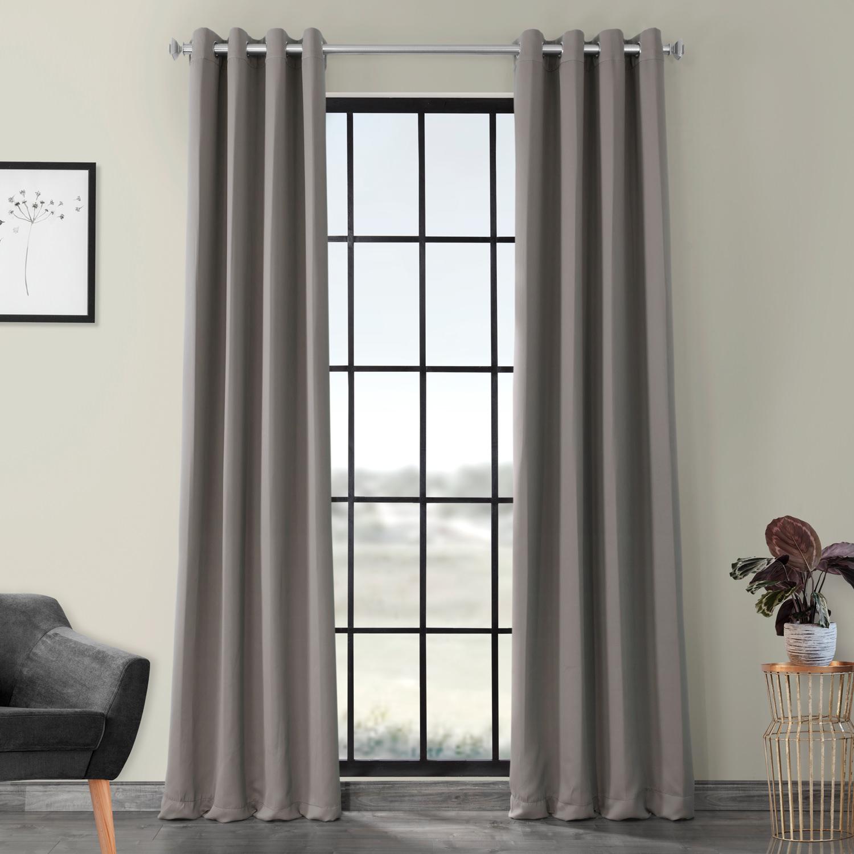 Grommet Neutral Grey Blackout Curtain