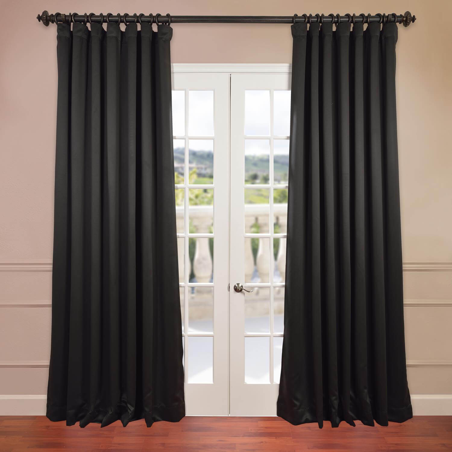 Jet Black Extra Wide Blackout Curtain