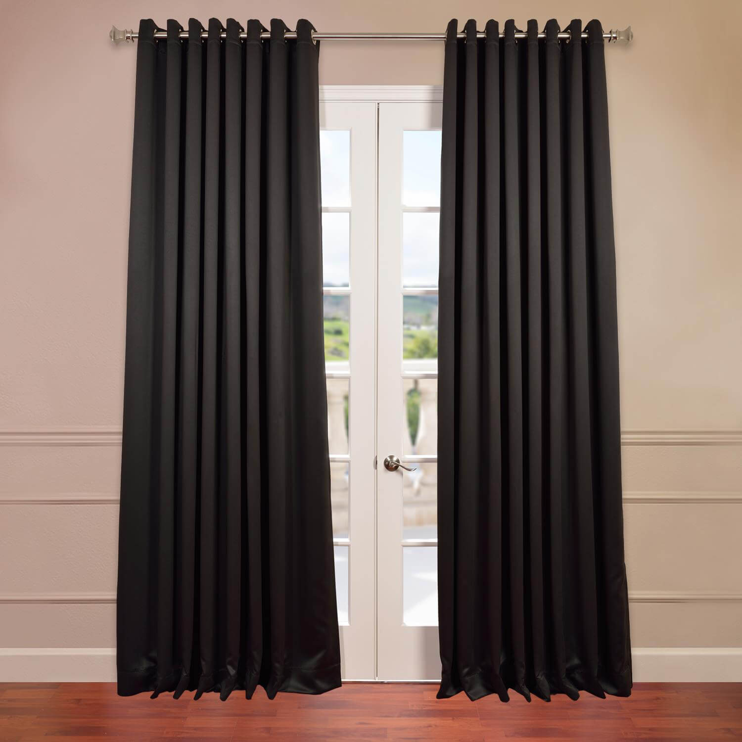 Jet Black Grommet Doublewide Blackout Curtain