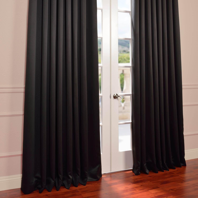 Jet Black Grommet Extra Wide Blackout Curtains Drapes
