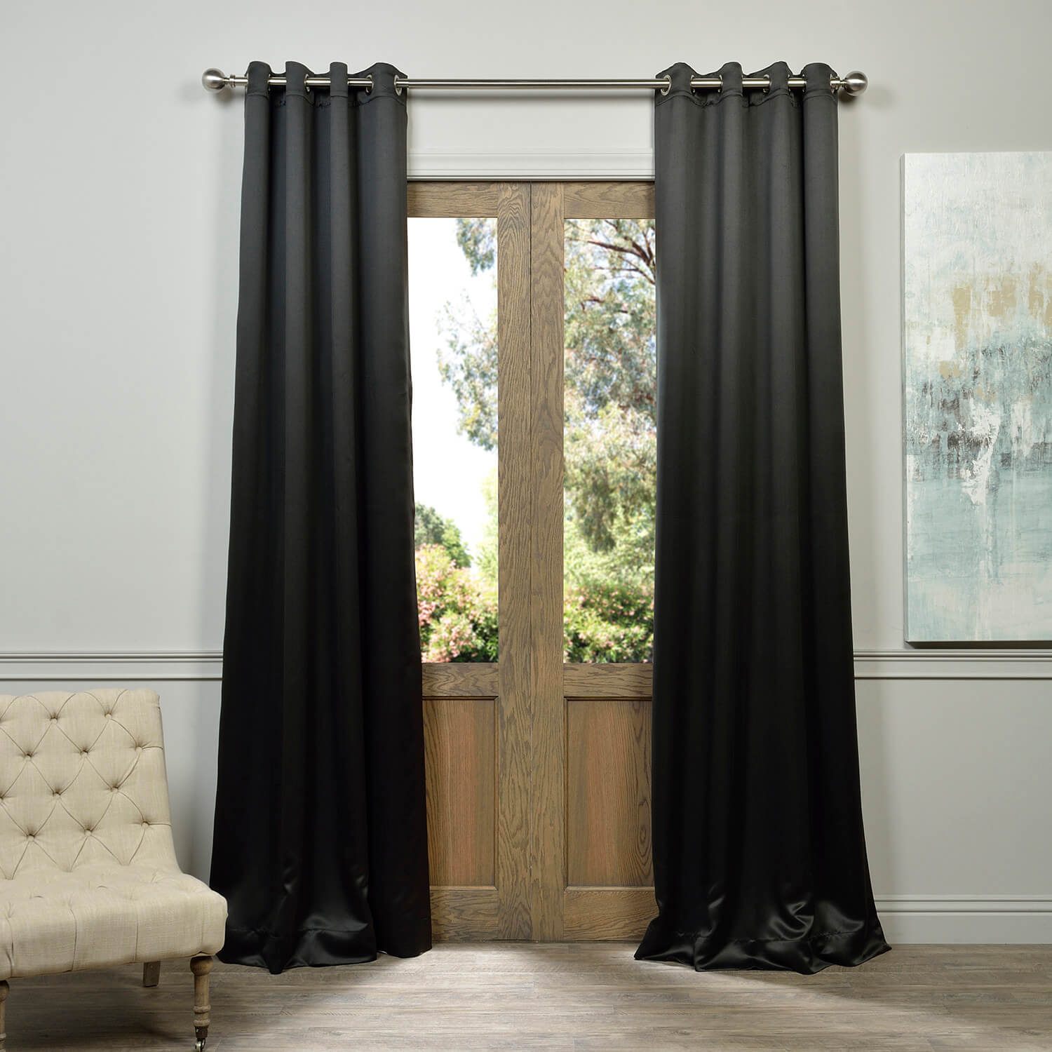 Grommet Jet Black Blackout Curtain
