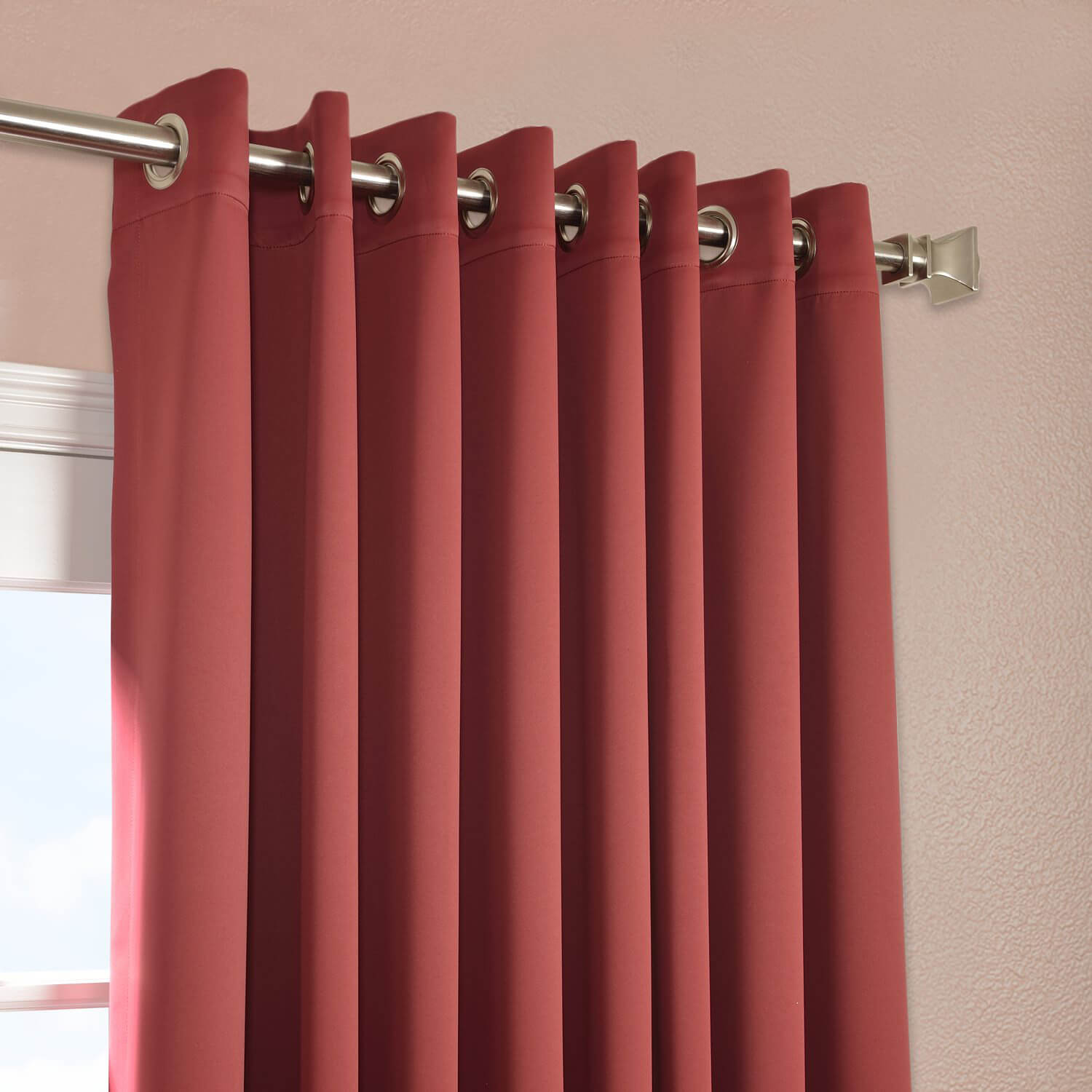Tibetan Red Grommet Extra Wide Blackout Curtain