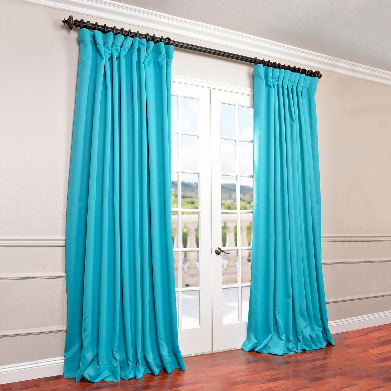Half Price Drapes Turquoise Doublewide Curtain Panel