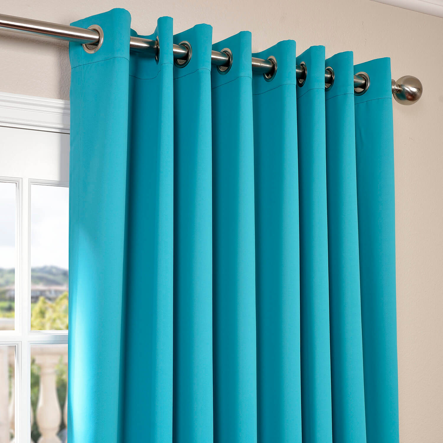 Turquoise Blue Grommet Extra Wide Blackout Curtain